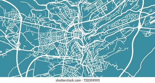 Detailed vector map of Luxembourg City, scale 1:30 000, Luxembourg