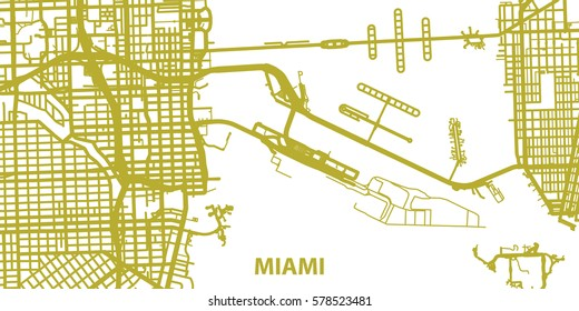 Detailed vector map of Miami in gold with title, scale 1:30 000, USA