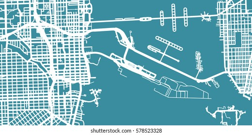 Detailed vector map of Miami, scale 1:30 000, USA