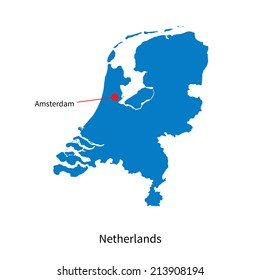 Detailed vector map of Netherlands and capital city Amsterdam