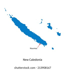 Detailed vector map of New Caledonia and capital city Noumea