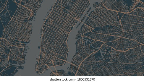Detailed vector map of New York City, USA