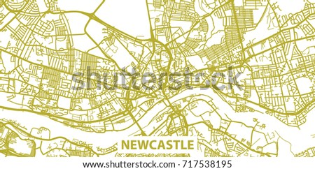 Detailed Vector Map Newcastle Upon Tyne Stock Vector Royalty Free