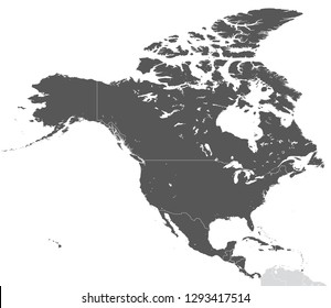 Detailed Vector Map of North America