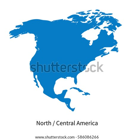 Detailed Vector Map North Central America Stock Vector (Royalty Free ...