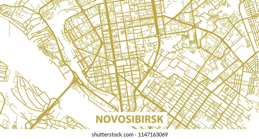 Detailed vector map of Novosibirsk in gold with title, scale 1:30 000, Russia