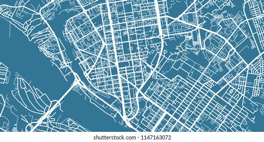 Detailed vector map of Novosibirsk, scale 1:30 000, Russia