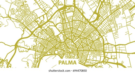 Detailed vector map of Palma in gold with title, scale 1:30 000, Spain