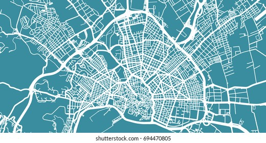 Detailed vector map of Palma, scale 1:30 000, Spain