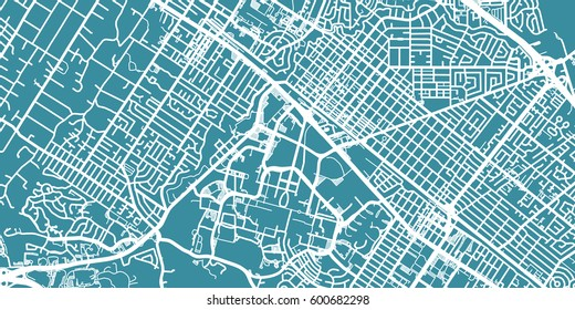 Detailed vector map of Palo Alto, scale 1:30 000, USA