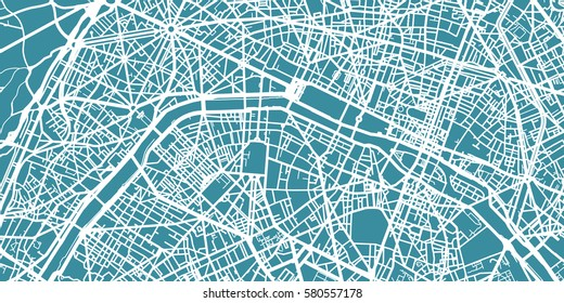 Detailed vector map of Paris, scale 1:30 000, France