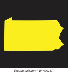 Detailed vector map of the Pennsylvania, Pennsylvania state map in yellow on a black background, Vector illustration, high detailed isolated blank vector map for your design, websites, infographic.