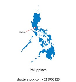 Detailed vector map of Philippines and capital city Manila