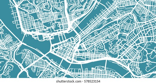 Detailed vector map of Pittsburgh, scale 1:30 000, USA