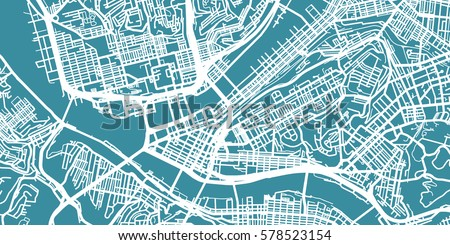 Pittsburgh On Map Of Usa.Detailed Vector Map Pittsburgh Scale 130 Stock Vector Royalty Free