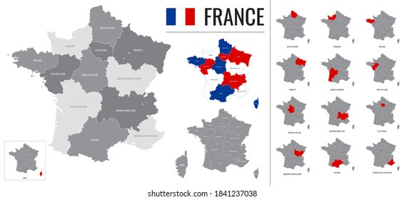 Detailed vector map of regions of France with flag