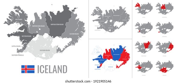 Detailed vector map of regions of Iceland with flag