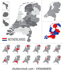 Detailed vector map of regions of Netherlands with flag