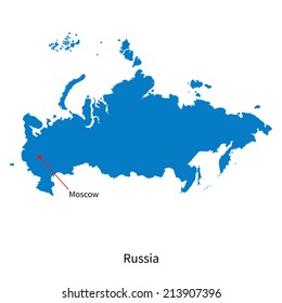 Detailed vector map of Russia and capital city Moscow
