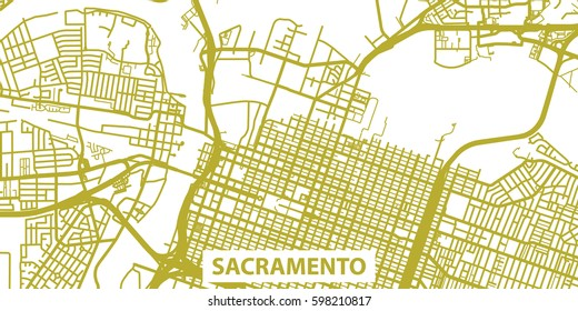 Detailed vector map of Sacramento in gold with title, scale 1:30 000, USA