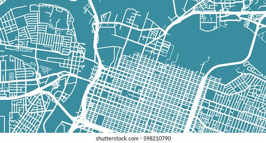 Detailed vector map of Sacramento, scale 1:30 000, USA