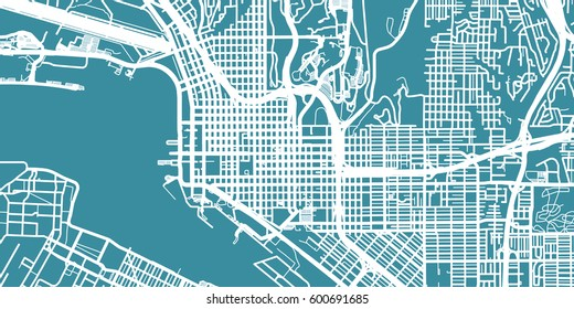 Detailed vector map of San Diego, scale 1:30 000, USA