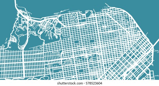 Detailed vector map of San Francisco, scale 1:30 000, USA