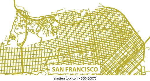 Detailed vector map of San Francisco in gold with title, scale 1:30 000, USA