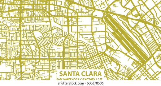 Detailed vector map of Santa Clara in gold with title, scale 1:30 000, USA
