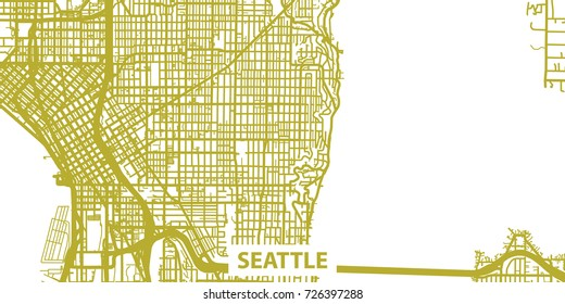 Detailed vector map of Seattle in gold with title, scale 1:30 000, USA