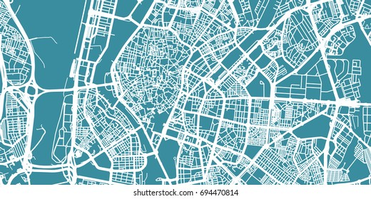 Detailed vector map of Sevilla, scale 1:30 000, Spain