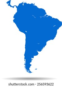 Detailed vector map of the South America