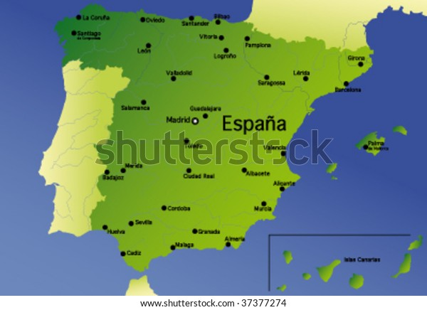 Map Of Spain Detailed.Detailed Vector Map Spain Stock Vector Royalty Free 37377274