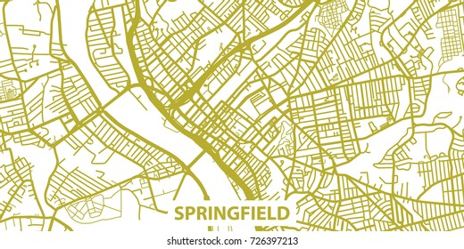 Detailed vector map of Springfield in gold with title, scale 1:30 000, USA
