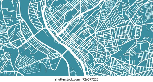 Detailed vector map of Springfield, scale 1:30 000, USA