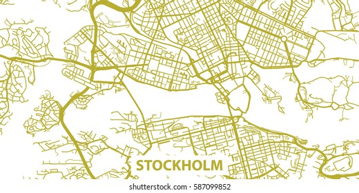 Detailed vector map of Stockholm in gold with title, scale 1:30 000, Sweden
