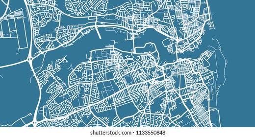 Detailed vector map of Sunderland, scale 1:30 000, England, UK