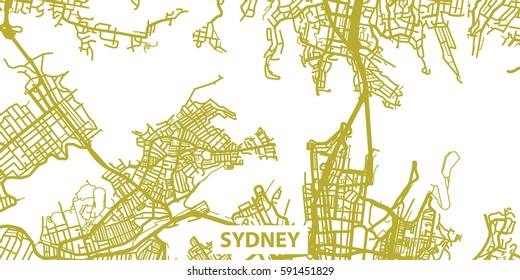 Detailed vector map of Sydney in gold with title, scale 1:30 000, Australia