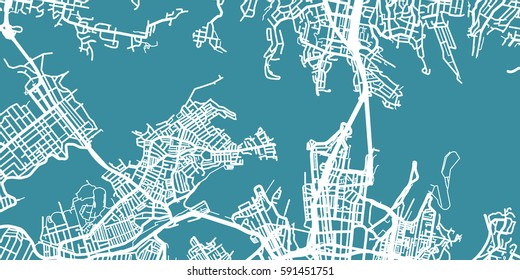 Detailed vector map of Sydney, scale 1:30 000, Australia
