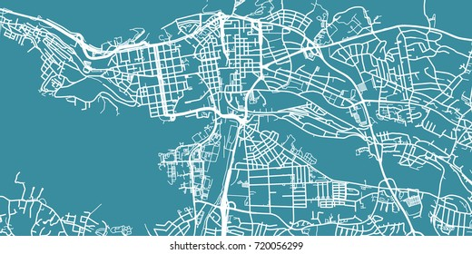 Detailed vector map of Tampere, scale 1:30 000, Finland