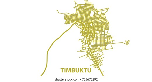Detailed vector map of Timbuktu in gold with title, scale 1:30 000, Mali