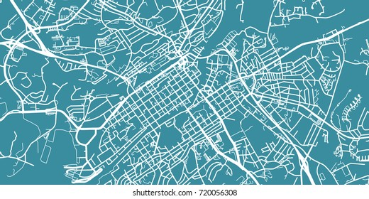 Detailed vector map of Turku, scale 1:30 000, Finland
