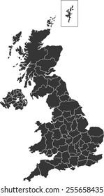 Detailed vector map of the UK