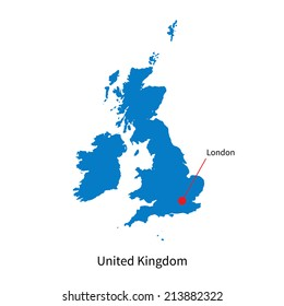 Detailed vector map of United Kingdom and capital city London