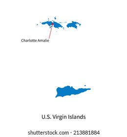 Detailed vector map of U.S. Virgin Islands and capital city Charlotte Amalie