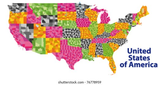 detailed vector map of USA with ALL counties