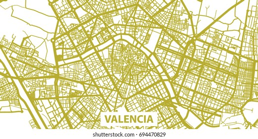 Detailed vector map of Valencia in gold with title, scale 1:30 000, Spain