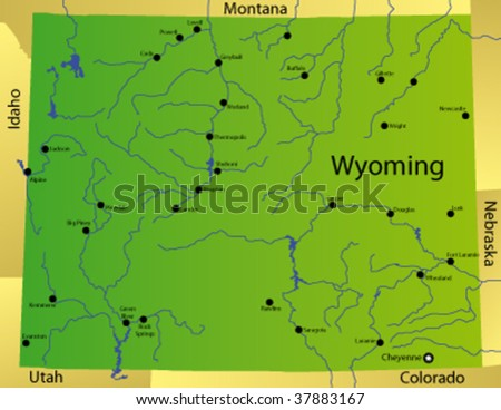 Free Wyoming State Map.Detailed Vector Map Wyoming State Usa Stock Vector Royalty Free