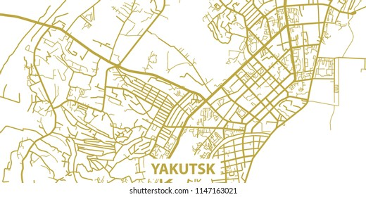 Detailed vector map of Yakutsk in gold with title, scale 1:30 000, Russia