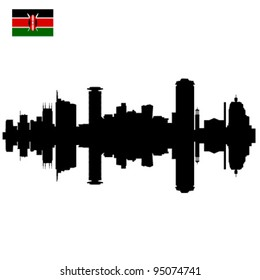 Detailed vector Nairobi silhouette skyline with Kenyan Flag